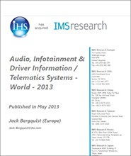 Audio, Infotainment & Driver Info. Systems (In Car) - World – 2013